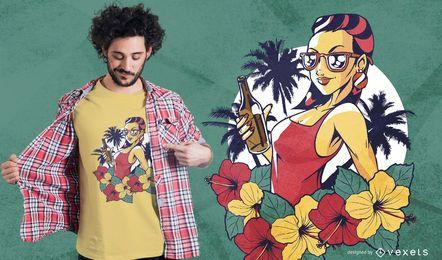 Mulher de verão com Design de t-shirt de cerveja
