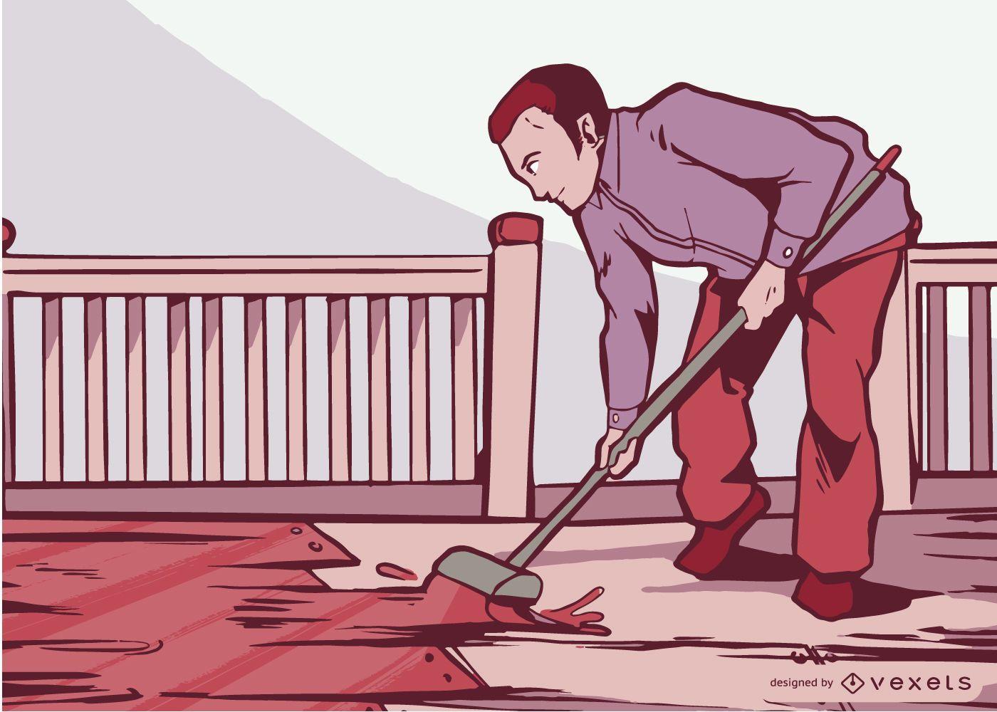 Man Painting Floor Vector Design
