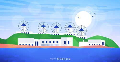 Colorful Mykonos Greece Skyline Vector