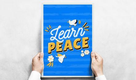 Lernen Sie Friedensplakatillustration
