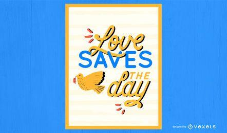 Ilustração do amor salva o dia