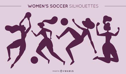 Silhuetas de futebol feminino