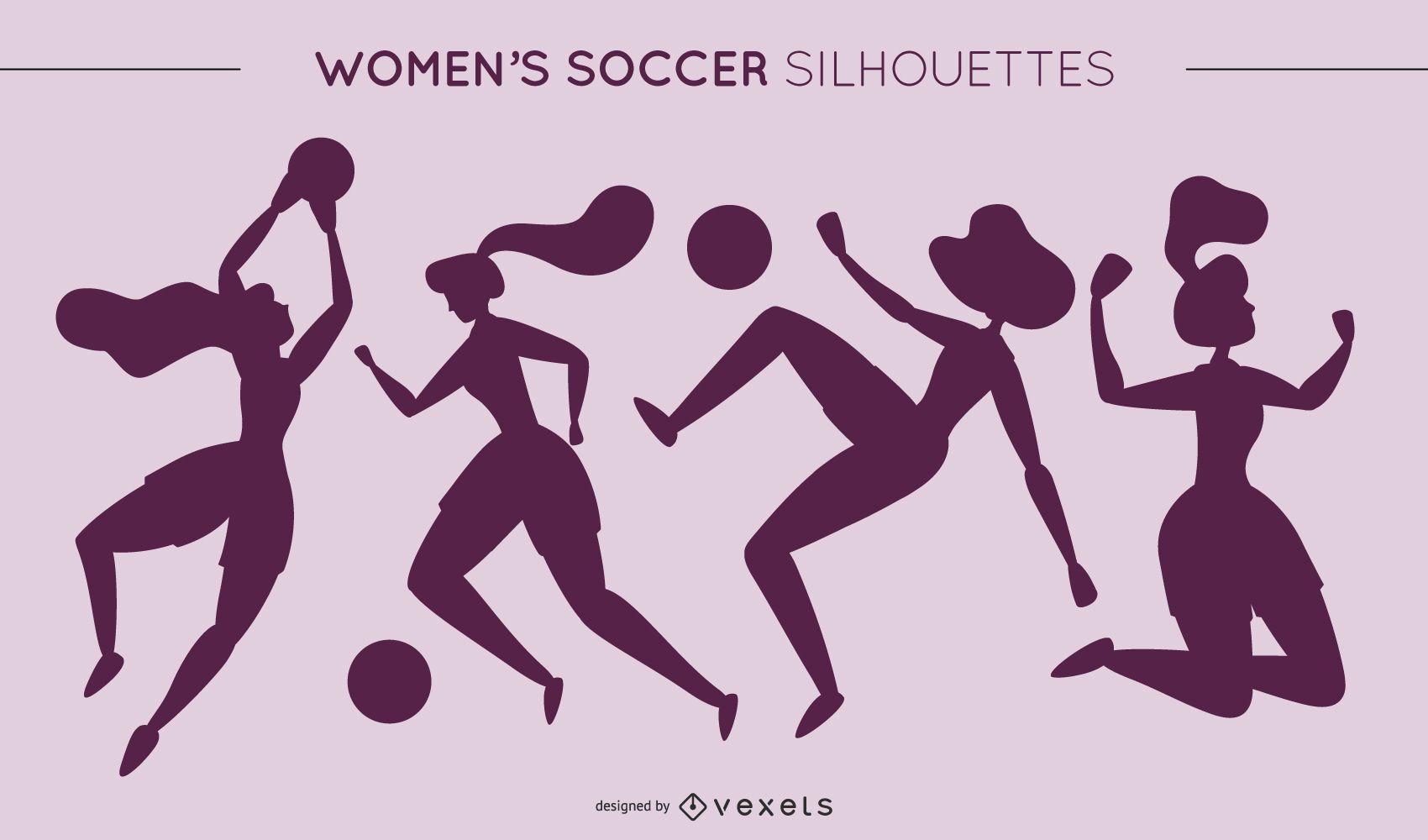 Womens Football Silhouettes