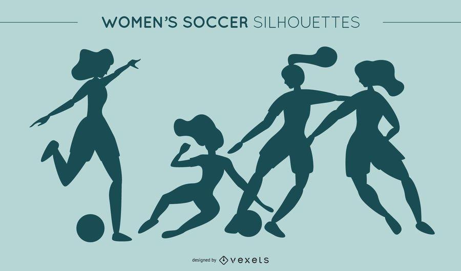 Silhuetas de futebol da mulher