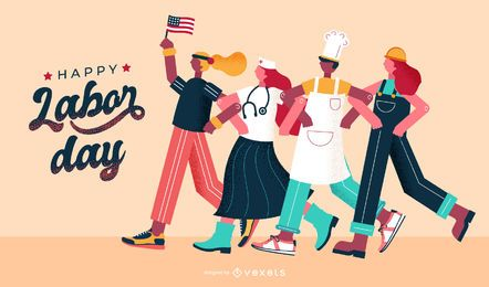 Happy labor day illustration