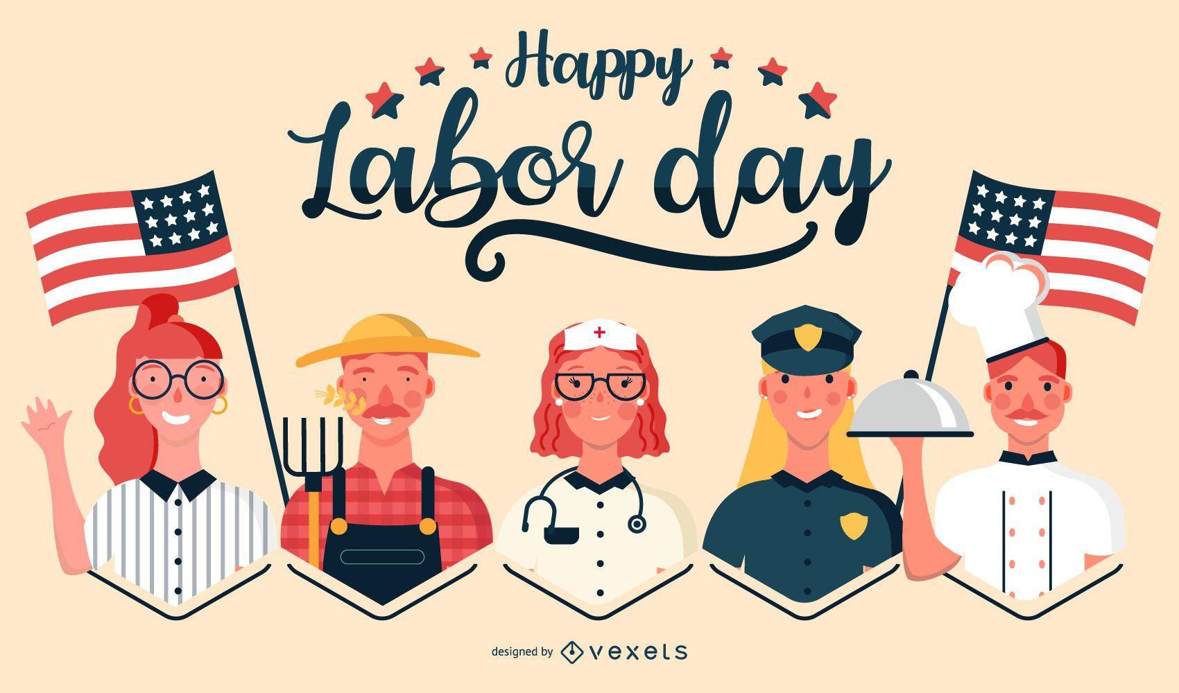 Happy labor day jobs illustration