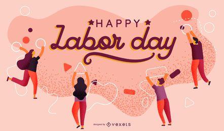 Desenho de cartaz abstrato do Dia do Trabalho