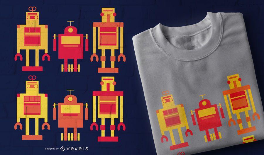 Roboter Set T-Shirt Design