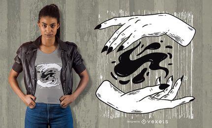 Diseño de camiseta de manos de bruja