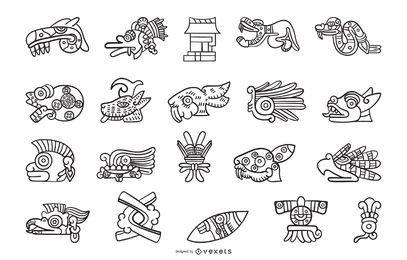 Colección de elementos de contorno azteca