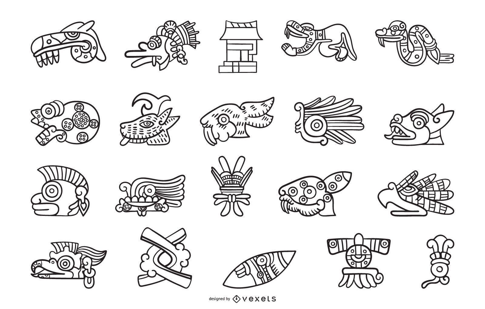 Colecci?n de elementos de contorno azteca