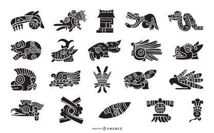 Aztekische Elemente Silhouette gesetzt
