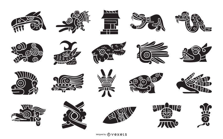Conjunto de silhueta de elementos asteca