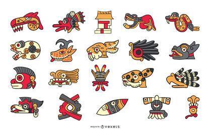 Colección de elementos aztecas