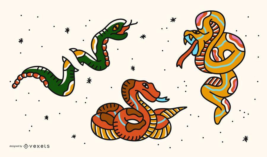 Conjunto de tatuagem de cobra