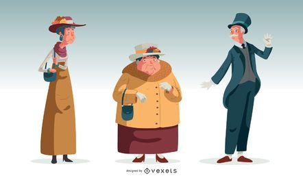 British Old Characters Illustration