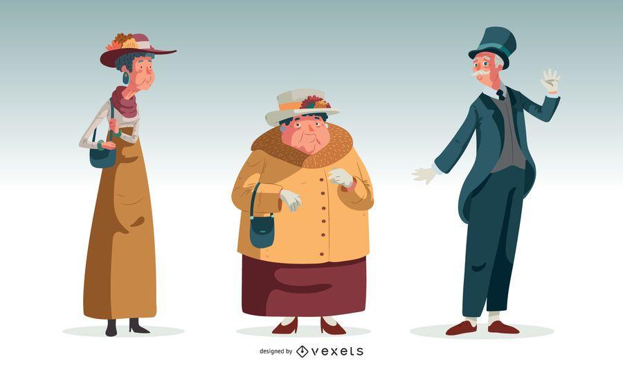 British Old Characters Illustration