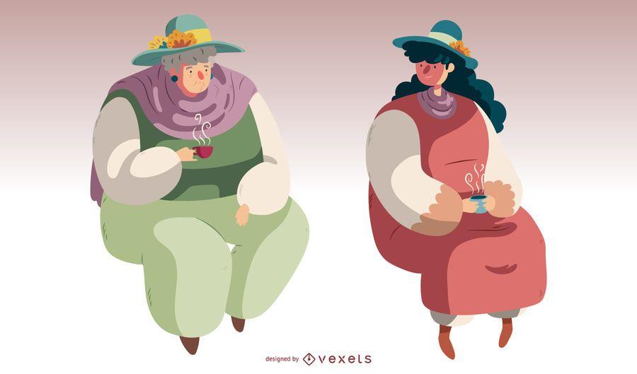 Ilustração de moda de mulheres britânicas