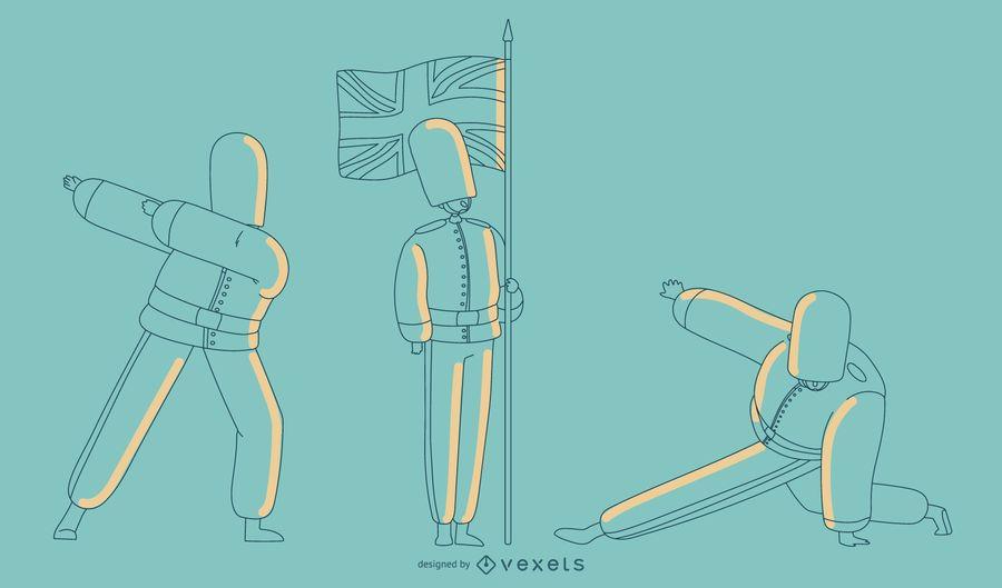 Ilustración de la guardia de Queens llana