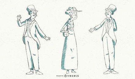 Ilustração de moda britânica vintage