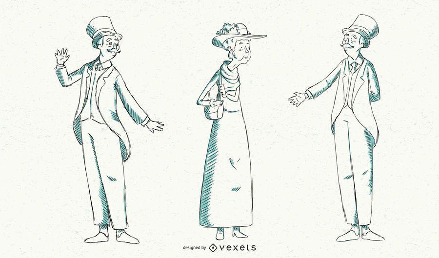 Ilustración de moda británica vintage
