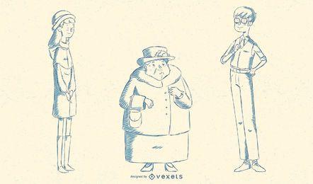 Britische Leute-Illustrations-Satz