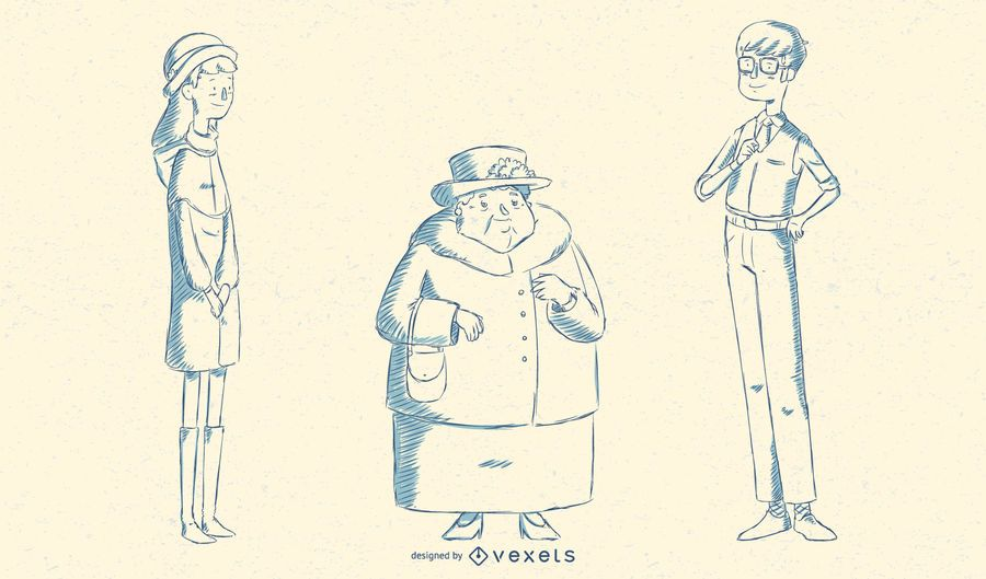 Paquete de ilustración de pueblo británico