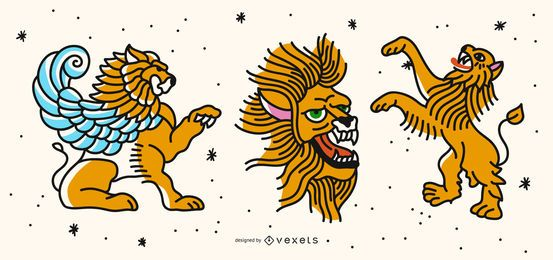 Colored lion tattoo set