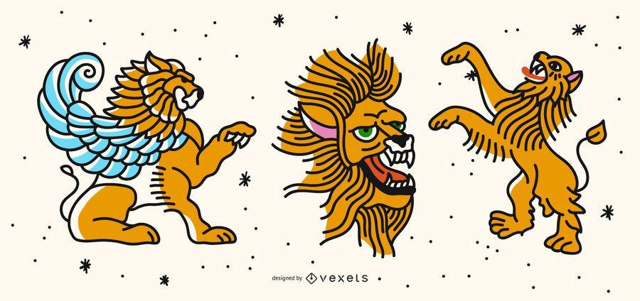 Colored lion tattoo set