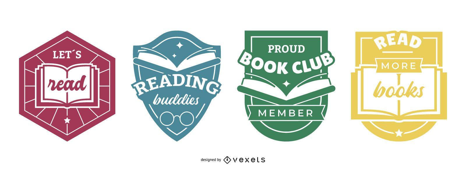 Conjunto de emblemas de livros