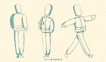 Marchando a ilustração britânica da guarda das rainhas