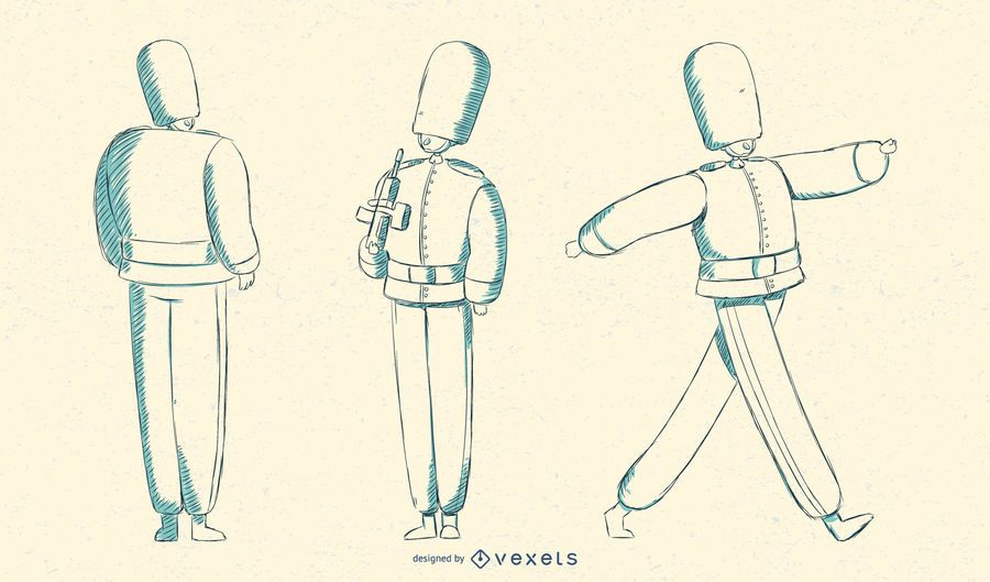 Marching British Queens Guard Illustration
