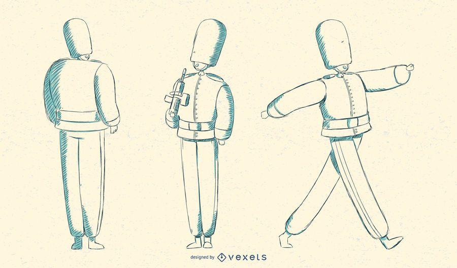 Marschierende britische Queens Guard Illustration