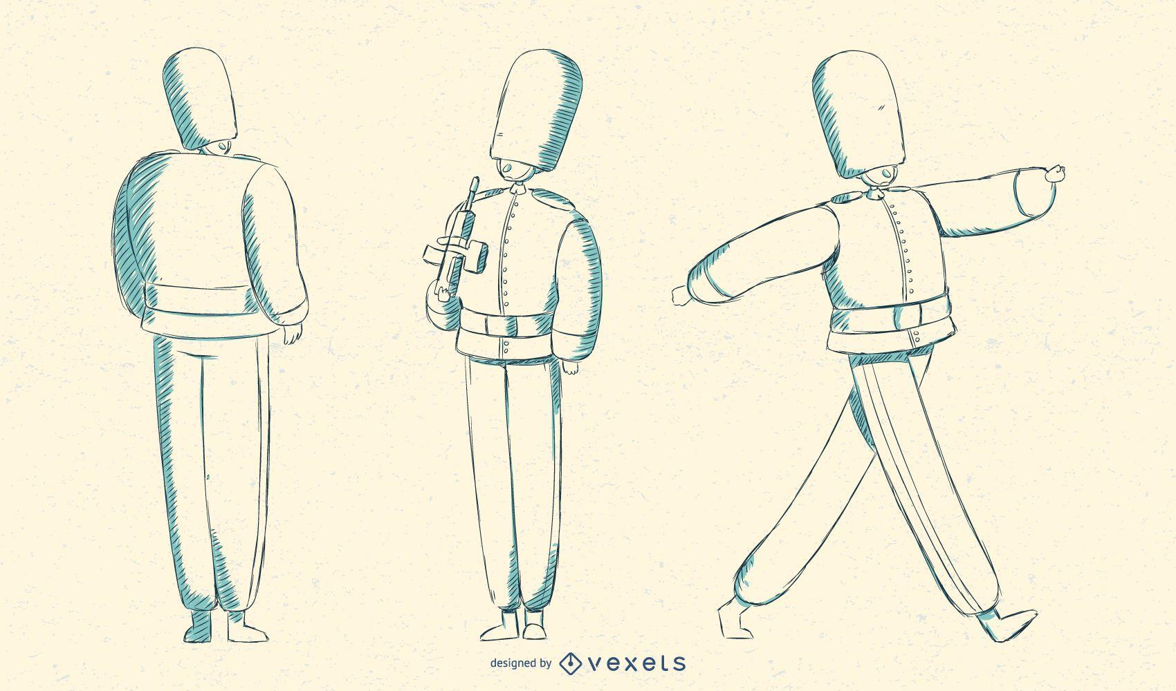 Ilustración de la guardia de reinas británica marchando