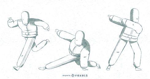 Guardias de reinas británicas posando ilustración