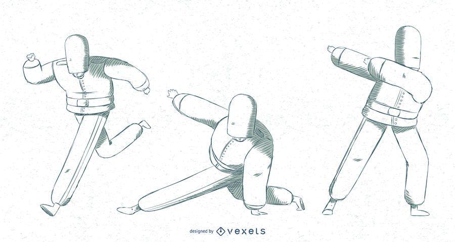 British Queens Guards Posing Illustration