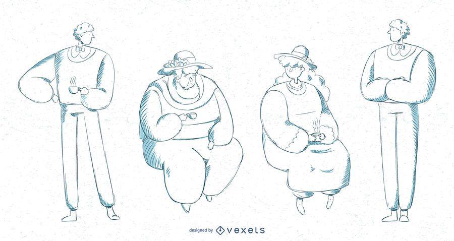 Gente británica trazo ilustración