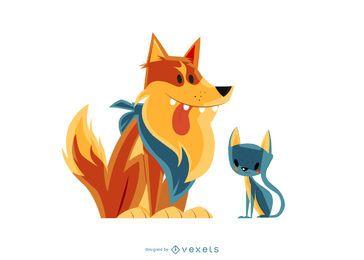 Amigos inverosímiles gato y perro ilustración