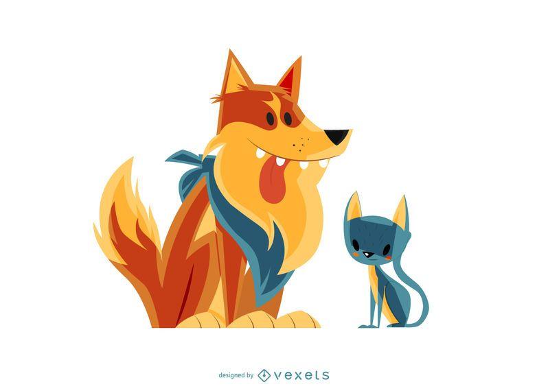 Gato e cachorro ilustração dos desenhos animados