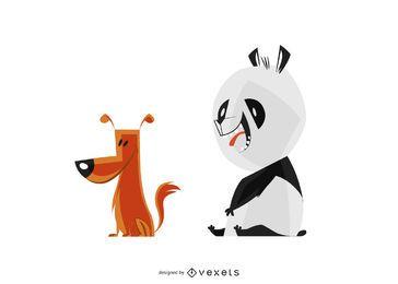 Amigos inverosímiles perro y panda ilustración