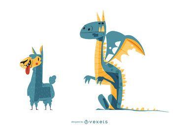 Ilustração dos desenhos animados de lhama e dragão