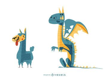 Lama-u. Drache-Karikatur-Illustration