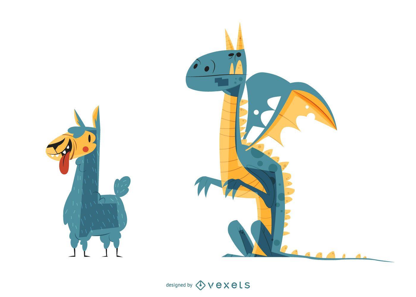 Llama & Dragon Cartoon Illustration