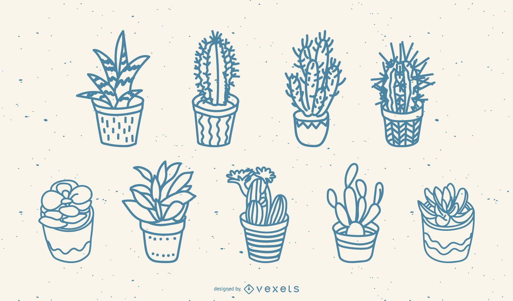 Hand drawn cacti set