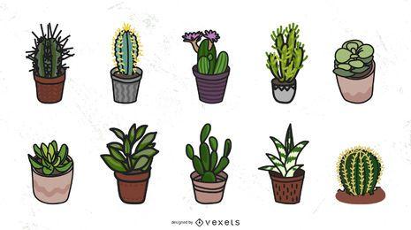 Colección de vectores de cactus