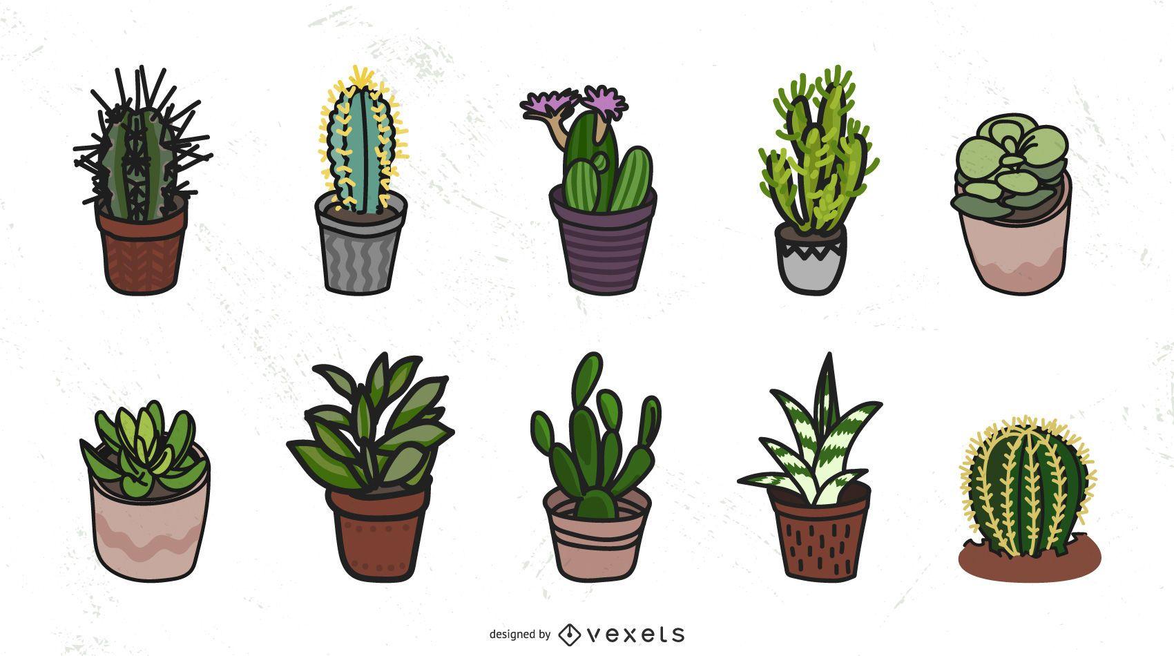 Colecci?n de vectores de cactus