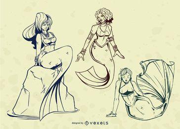 Conjunto de vectores de ilustración de trazo de sirena