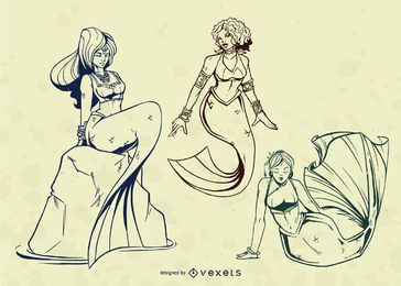 Mermaid Stroke Illustration Vector Set