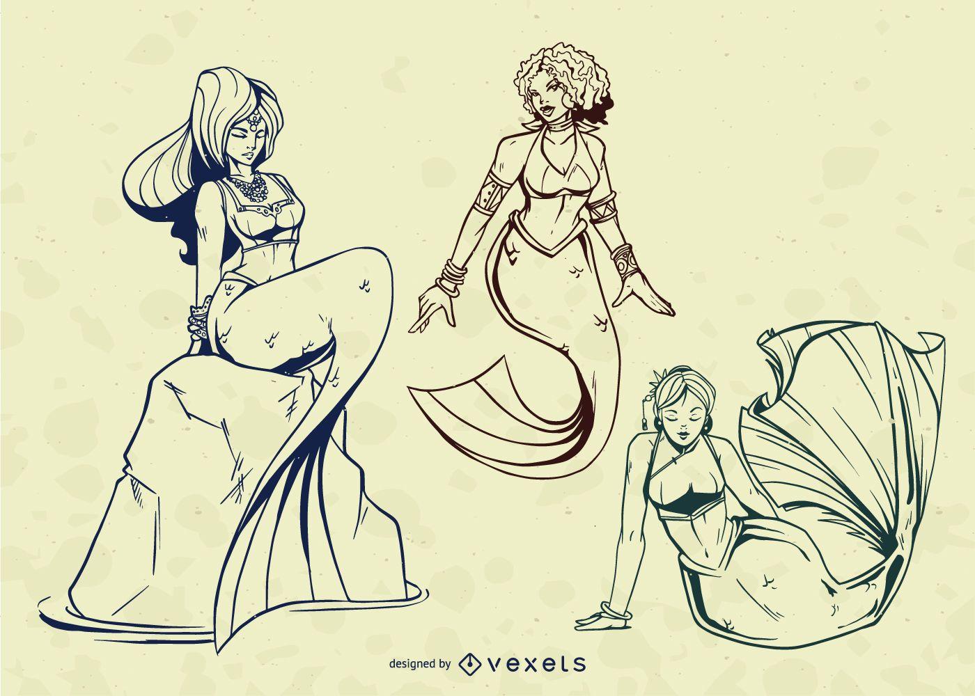 Mermaid Stroke Illustration Vector Set