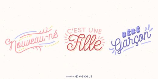 Conjunto de vetores de rotulação de bebê francês